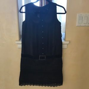 Black Belted Silky Shirt Dress